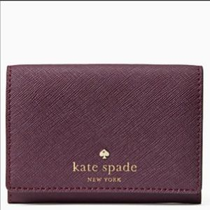 NWT Kate Spade Mikas Leather Wallet deep plum